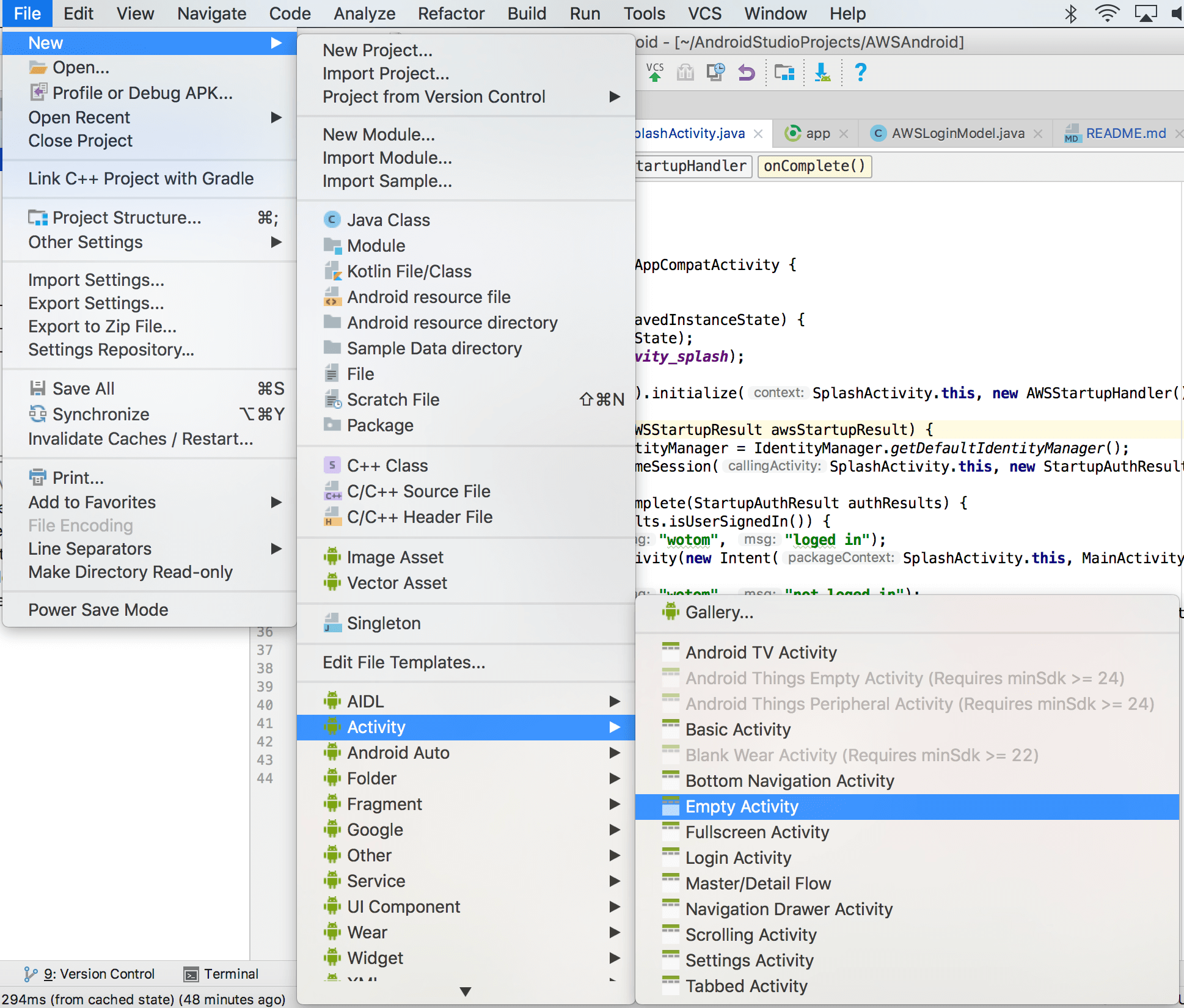 Android] Creating Custom Login Screen for AWS Mobile Hub